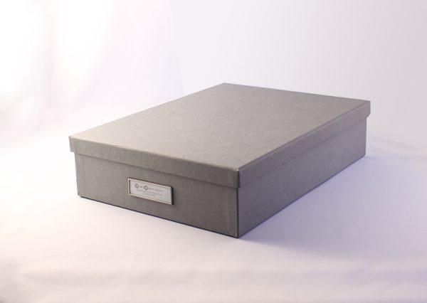 Arkivboks A4 grå i genbrugspap