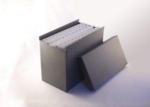 Hængemappearkiv A4 i gråt genbrugspapir