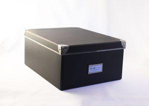 Opbevaringsboks i sort genbrugspap - large