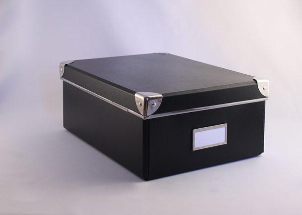 Opbevaringsboks i genbrugspap - sort