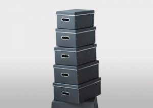 Opbevaringsbokse i genbrugspapir - sort