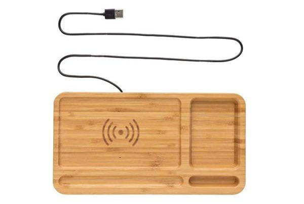 Skrivebords organizer og trådløs charger til smartphone i bæredygtig bambus