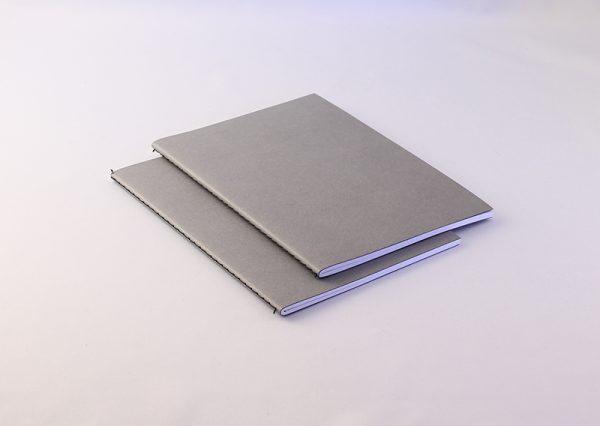 A5 notesbog i genbrugspapir med linnedoverflade - 2 stk.