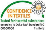 OEKO-TEX®-mærkede tekstiler er sikre tekstiler, der ikke skader kroppen. Klik på logoet for yderligere information.