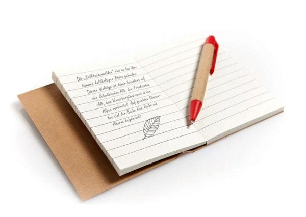 Bæredygtig notesbog med kuglepen