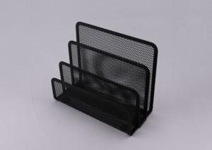 Kuvert og papirholder i sort stål