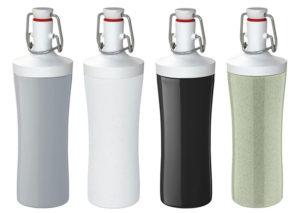 Vandflaske i bæredygtig bioplast med porcelænsprop