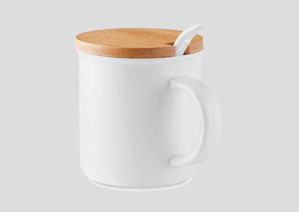Bæredygtigt krus i porcelæn med bambuslåg