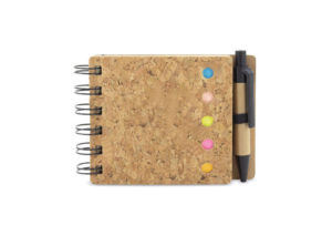 Sustainable notepad with cork cover and pen