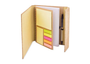 Sustainable note pad with cork cover and pen