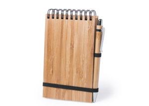 Klimavenlig notesblok og kuglepen i bambus