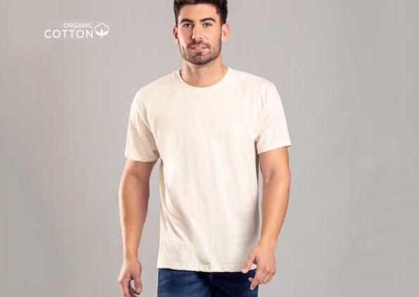 Billig økologisk t-shirt med logotryk