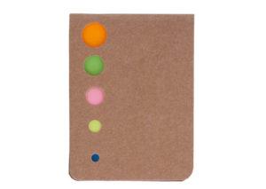 Bæredygtig sticky notes blok med omslag af genbrugt pap