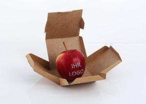 Æble med spiseligt logo i bæredygtig æske