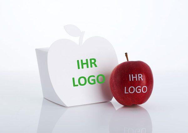 Frugt med spiseligt logo i bæredygtig æske