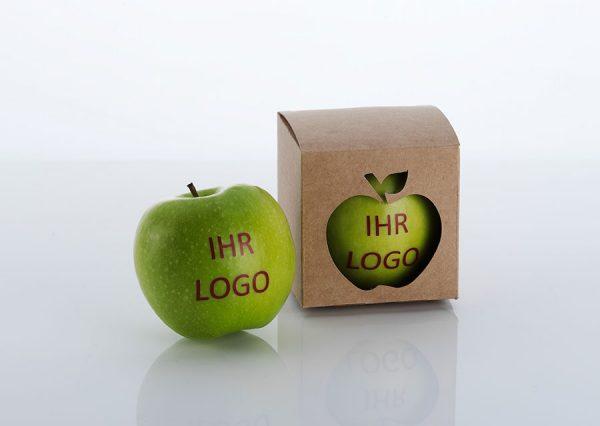 Frugt med spiseligt logo i bæredygtig naturfarvet æske