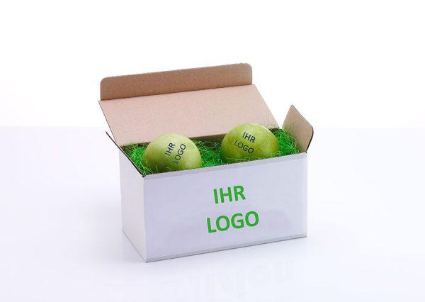 Frugt med spiseligt logo i bæredygtig gaveæske