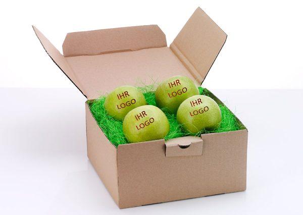 Frugt med spiseligt logo i bæredygtig naturfarvet gaveæske