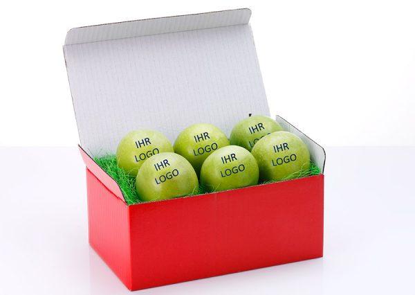Frugt med spiseligt logo i bæredygtig rød gaveæske