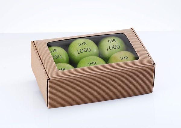Frugt med spiseligt logo i bæredygtig gaveæske med vindue