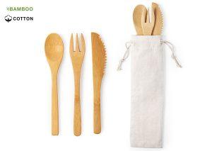 Environmentally friendly bamboo cutlery in cotton bag