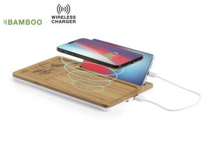Organizer and charger made from sustainable bamboo