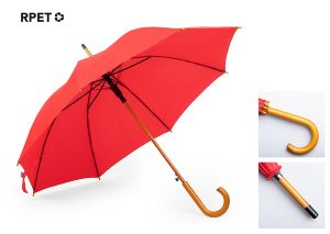 Sustainable umbrella made from rPET and wood