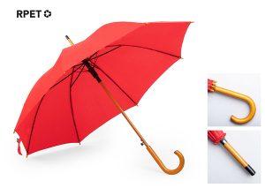 Bæredygtig paraply i rPET og træ