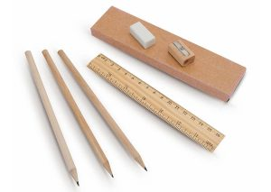 wooden pencil set with recycled box and print