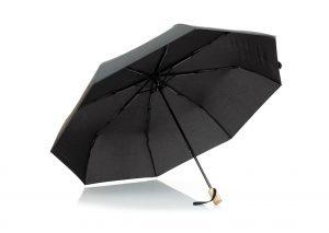Black recycled plastic umbrella with logo print