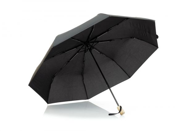 Sort paraply i genbrugsplast med logotryk
