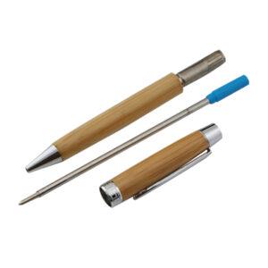 Bæredygtig kuglepen i metal og bambus med refill metalpatron