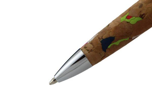 Bæredygtig kuglepen i kork og genbrugsmetal med refill metalpatron