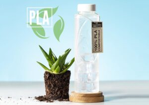 Sustainable 100% compostable bioplastic water bottle (PLA)