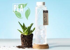 Bæredygtig 100% komposterbar vandflaske i bioplast (PLA)