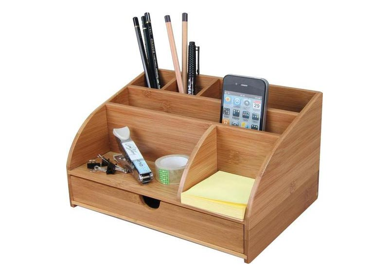 Sustainable bamboo desk organizer