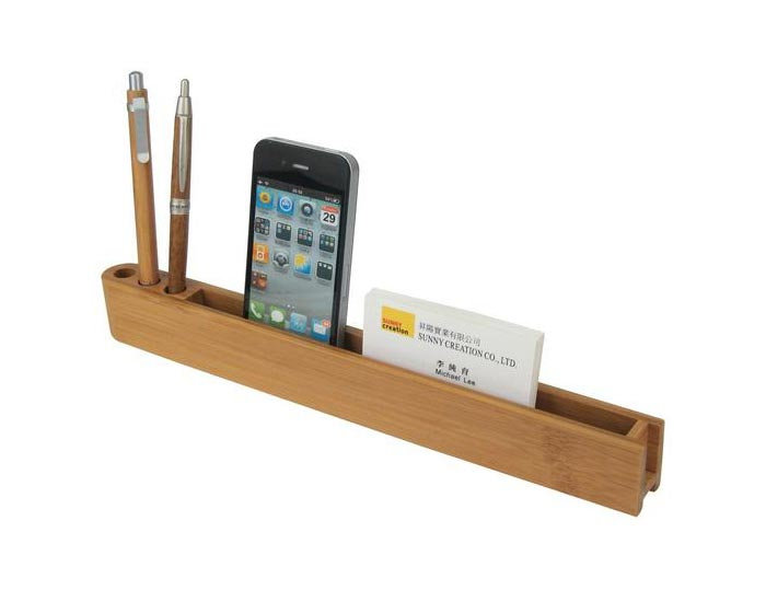 Bæredygtig skrivebords organizer i bambus