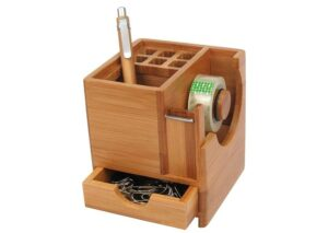 Environmentally friendly bamboo desk organizer