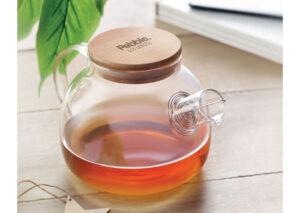 Bæredygtig tepotte i borosilikat kvalitets glas med låg i miljøvenlig bambus