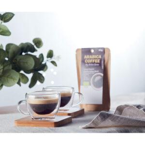 Bæredygtig espressokop med underkop i bambus