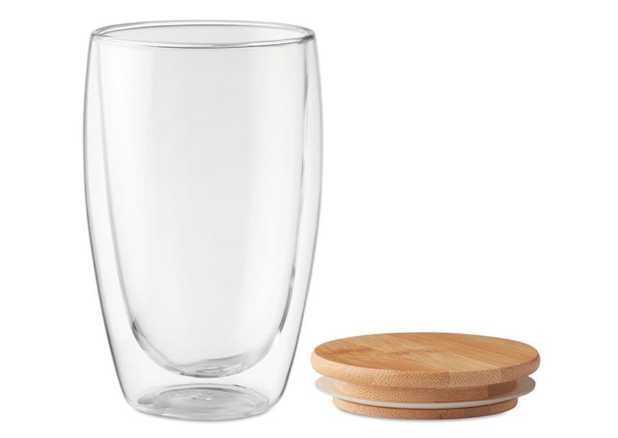 Miljøvenligt to go termokrus i glas med bambuslåg