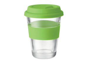 Environmentally friendly to go glass thermos with silicone lid