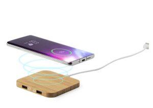 Trådløs mobiloplader i miljøvenlig bambus