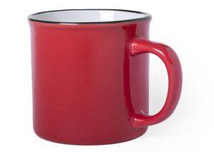 Retro bæredygtigt keramikkrus farvet med sort kant - rød