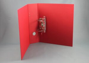 Letter binder made from sustainable FSC certified recycled cardboard - red