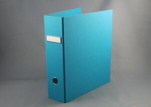 Letter binder made from sustainable FSC certified recycled cardboard - turquoise