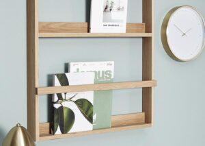 Bæredygtig væghylde / magasinholder / tidsskriftholder i FSC certificeret egetræ
