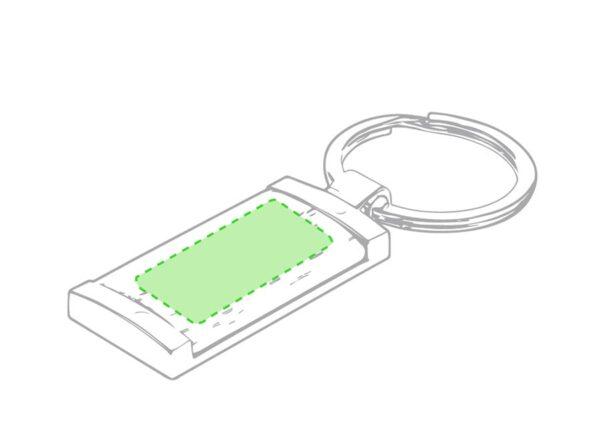 Nøglering i bøgetræ og rusfri stål - firkantet trykområde 17x30mm