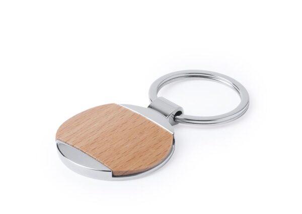 Nøglering i bøgetræ og rusfri stål - rund