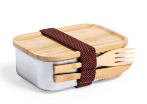 Bæredygtig madkasse i med bestik i rustfri stål og bambus